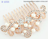 Bridal Comb Gold-Plated Floral Wedding Headpiece Simulated Pearls Crystals Rhinestones