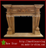 Marble Fireplace Factory, Beige Fireplace Mantel, Fire Place Surround (NS-1205)