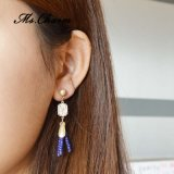 Navy Blue Seed Beads Tassel Drop Earrings for Women Taiwan Acrylic Stone