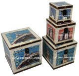 S/4 Decoration Antique Vintage Eiffel Tower Design Square Printing PU Leather/MDF Wooden Storage Trunk Box