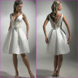 A-Line Bridal Dress Little White V-Neck Short Satin Wedding Dress Tl15