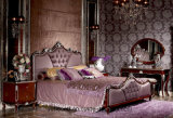 Y07 Brown Color Covered Silver Parts in Solid Wood Bed Room Collection