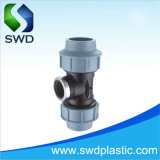 PP Compression Pipe Fitting Best Price Factory Blue Female Tee