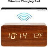 Amazon Hot Wooden LED Weather Sound Control Dimmer Alarm Clock Phone Charger