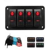 4 Gang LED Rocker Switch Control Panel Circuit RV Breaker Boat Marine Accessory