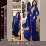 Blue Deep V Neck Long Sleeve Evening Long Dress (TMKF126)
