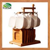 Ceramic Cup Bamboo Saucer with Bamboo Rack