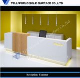 Acrylic Solid Surface Curved Reception Desk Service Counter Table