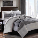 Queen/King Size Grey Striped Patchwork Bedding Set