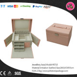 Custom Luxury Pink Large Multi Drawer Faux Leather Jewelry Box (8710)