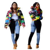 Men Women Camouflage Print Winter Parkas Coat Outerwear Fashion Cropped Puffer Down Jacket Coats