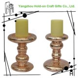Glass Lamp Blowing Gold Multi Joint Festival Candleholder in Medium Size with Old Silver Pattern