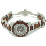 Automatic Mechanical Wooden Metal Watch Natural Wood and Metal Combination