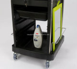 Saloniture Locking Rolling Salon Trolley Cart with Pockets - Black