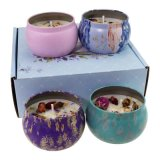 Beautiful Christmas Pattern Color Design Metal Tinplate Tin Candle Packaging Box