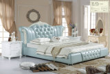 Blue Color Wholesale Price Royal Bedroom Furniture Leather Bed (A869)