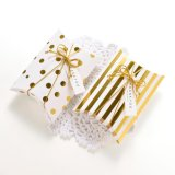 Luxury Quality White Gold Chocolate/Candy Small Paper Pillow Box Packaging, Foldable Pillow Shape Wedding Favor Gift Bo