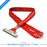 High Quality Printed Polyester Card Holder Lanyard Polyester Custom Leather Velcro