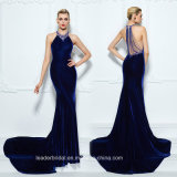 Royal Blue Prom Party Dress A-Line Velvet Evening Dresses Z5019
