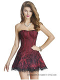Women′s Sexy Lace up Bustier Dress Gothic Corset Clubwear