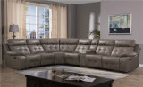 Living Room Furniture Comfortable Beige Color Sectional Recliner Sofa Air Leather Transitional Set with Console