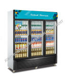 Remote Compressor Commercial Supermarket Beverage Display Fridge with 3 Glass Doors