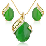 Fashionable Alloy Zircon Rhinestone Crystal Artificial Jade Jewelry Set
