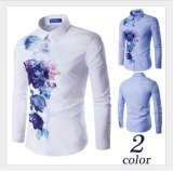 Hotsell Flora Printing Slim Fashion Wrinkle Free Casual Men's Shirts
