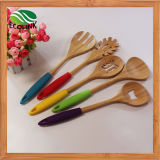 Colorful Silicone Handle Bamboo Cooking Spoon