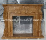 Stone Mantel Indoor Home Decoration Beige Marble Fireplace Mantel (SYMF-323)