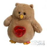 Brown Owl Animal Stuffed Electrical Plush Toy With Heart