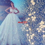 Hot Selling Embroidery Design New Fashion Women Dresses 100% Nylon Fabric White Flower Tulle Lace Fabric