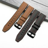 Quick Release Brushed Leather Silicone Rubber Watch Strap Band Samsung