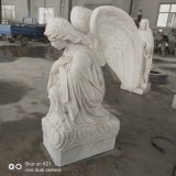 White Marble Squat Angle Statue Tombstone Angel Sculptures for Grave