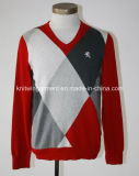 Men Knitted V Neck Long Sleeve Casual Sweater (M15-089)