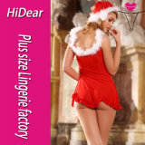 Sexy Christmas Costumes Marabous Trimmed Babydoll Hat and Thongs