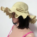 100% Paper Straw Hat, Fashion Floppy Style with Ribbon and Bowknot Decoration