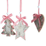 Wooden Christmas Ornament with Mini-Tree Star Heart Design in Stock