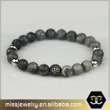 Wholsale Antique Silver Gear Elastic Stone Lava Howlite Bead Bracelet