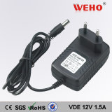 European Plug 12V 1.5A Wall Mounted AC DC Power Adapter