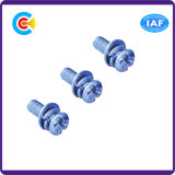 Blue Zinc Stainless Steel Cross/Phillips Pan Head Screws with Gasket/Washer