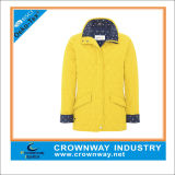 Long Fitted Lightweight Yellow Padded Jacket for Ladies