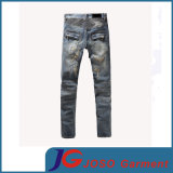 Distressed Patchwork Accent Rust Washing Jeans Scratch Men Washed Hole Jeans (JC3400)