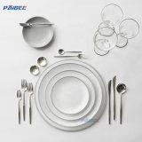 Paibee White Ceramic Plate Grey Rim porcelain Dinner Set Cheap Wholesales Dinnerwear Set Wedding Dinner Set