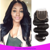 100% Unprocessed Wholesale Virgin Peruvian Body Wave Hair Closure 4*4inch
