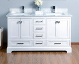 "60"" Double Basin Marble Top White Solid Wood Bathroom Cabinet"