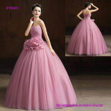 Ball Gown Strapless Long Floor-Length Organza Formal Evening Dress with Flower