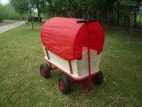Heavy Duty Trailer Kids Festival Garden Trolley Red Pull Along Truck Wagon Cart with Roof