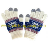 Jacquard iPhone Touchscreen Knitted Glove with Snowflake (JRAC038)