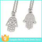 Hot Sale Religious Silver Plated Rhinestone Hamsa Pendant Jewelry Necklace
